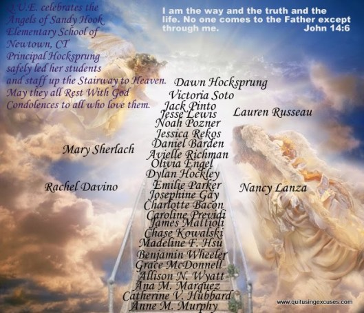 The principal, teachers and staff threw themselves protectively around their students. They gave their lives so many children may live. Their heroic actions will never be forgotten. God's prayers of love, condolences, healing, and comfort to the families of all.