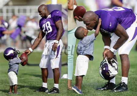 Adrian Peterson and Son two pics