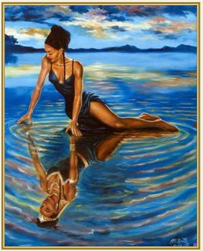Black woman sitting on water