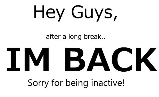 I'm Back Blog March 31