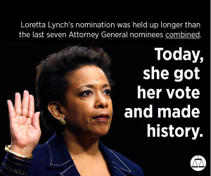 Mrs. Loretta Lynch, first Black Women to hold the Office of United States Attorney General.
